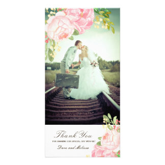 Pretty Pink PeoniesThank You Photo Card (4x8)