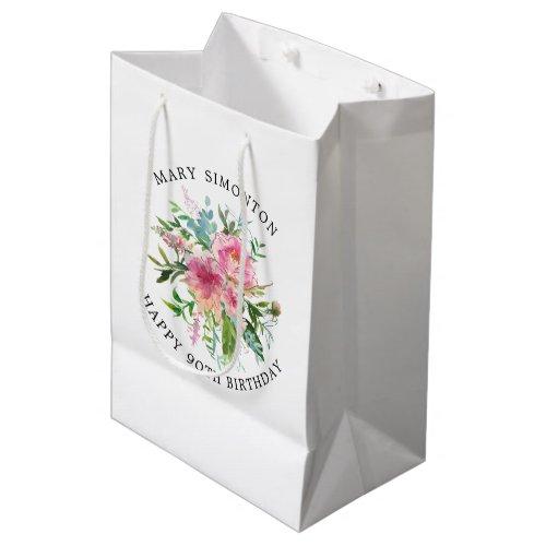 Pretty Pink Peony Floral 90th Birthday Medium Gift Bag