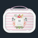 """Pretty Pink Peony Watercolor Flowers with Stripes Lunch Box<br><div class=""""desc"""">This beautiful lunch box features watercolor style pink peonies and gray and green leaves. A frame with a faux gold foil border is in the center,  and soft pink watercolo look stripes decorate the background. We have used designs from LABFcreations and Indie Grace Design.</div>"""