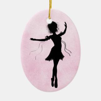 Pretty Pink Personalized Ballerina Silhouette Ceramic Ornament