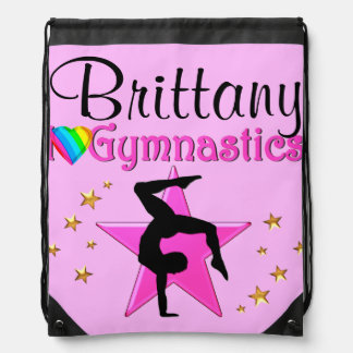 PRETTY PINK PERSONALIZED GYMNASTICS PACKPACK DRAWSTRING BACKPACK