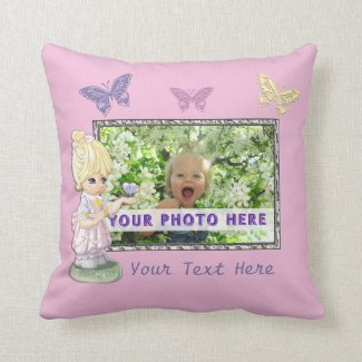 Pretty Pink Personalized Photo Pillows with Text