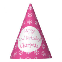Pretty Pink Personalized Snowflake Winter Birthday Party Hat
