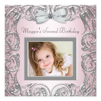 Pretty Pink Photo Second Birthday Party Invitation