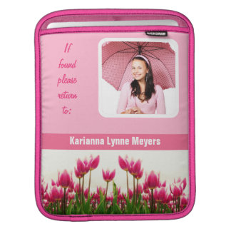 Pretty Pink Photo Template Tulips Sleeve For iPads