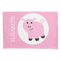 Pretty Pink Pig Kids Personalized Piggy Pattern Pillowcase