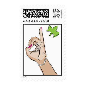 Pretty pink pinky drawing postage