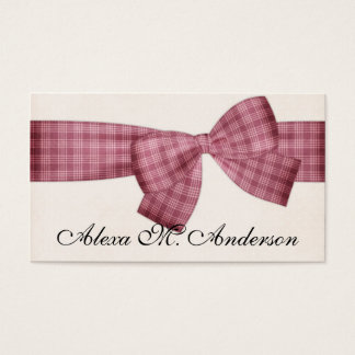 Pretty Pink Plaid Bow Business Cards
