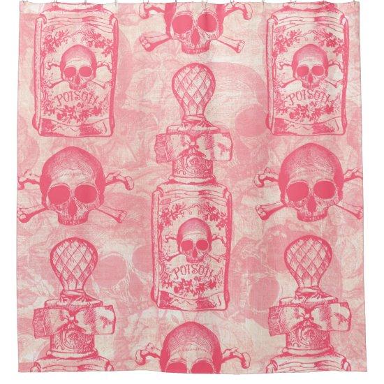 Pretty Pink Poison Bottle Shower Curtain