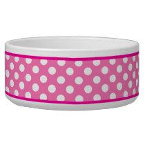 Pretty Pink Polka Dot Pattern Ceramic Dog Bowl