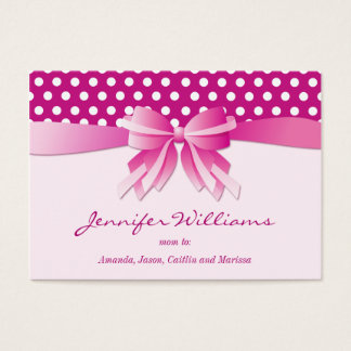 Pretty Pink Polka Dots and Bow Mommy Calling Cards