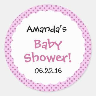 Pretty Pink Polka Dots Baby Shower Custom Name Classic Round Sticker