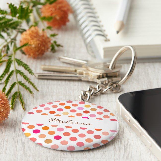 Pretty Pink Polka Dots Keychain