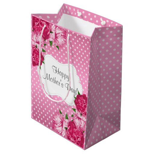 Pretty Pink Polka Dots Pattern with Pretty Flowers Medium Gift Bag