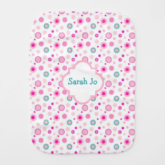 Pretty Pink Polka Dots Personalized Baby Burp Cloth