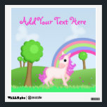 """Pretty Pink Pony Horse in a Field Wall Decal<br><div class=""""desc"""">A colorful wall decal for children with a fun field scene filled with trees,  flowers and a rainbow,  and a darling little pink cartoon pony horse.</div>"""
