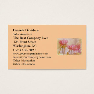 Pretty Pink Poppies Watercolor Business Card
