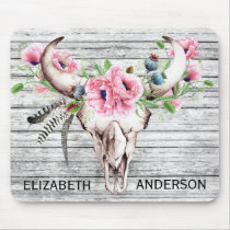 Pretty Pink Poppy Floral Cow Skull Personalized Mouse Pad