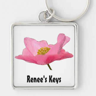 Pretty Pink Poppy Photograph Keychain