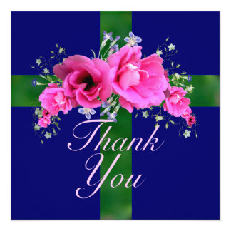 """Pretty Pink Posies Thank You Cards 5.25"""" Square Invitation Card"""