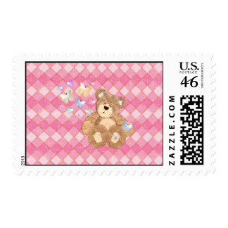 pretty pink postage stamps