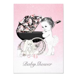 Pretty Pink Pram Baby Shower Invitation