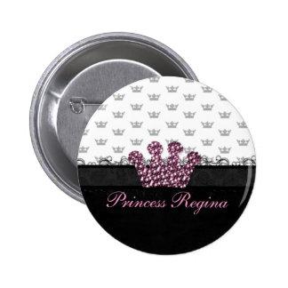 Pretty Pink Princess Crown Button