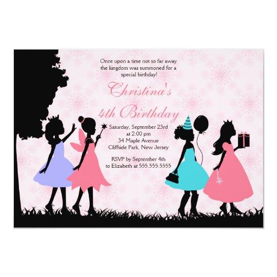 pretty pink princess fairy birthday party invitation