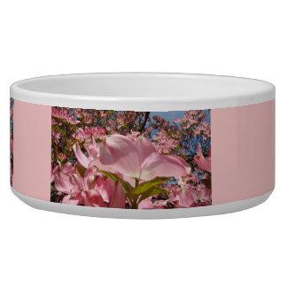 Pretty Pink Puppy Dog bowls Dogwood Flowers