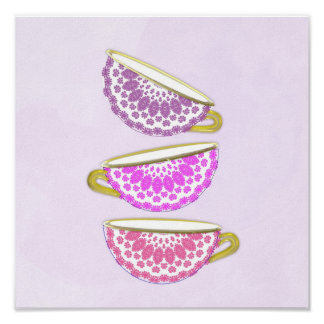 Pretty Pink Purple China Tea Cups Wall Art Poster