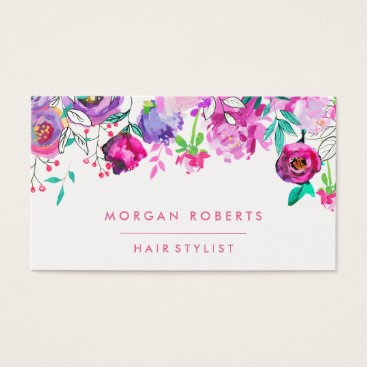 Professional Business Pretty Pink Purple Mint Floral Watercolor Business Card