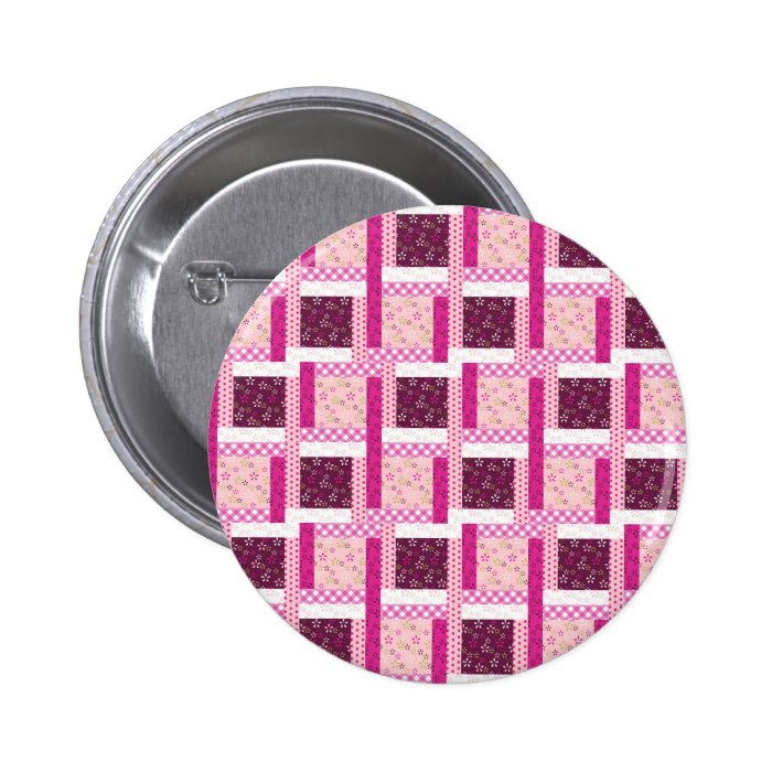 Pretty Pink Purple Patchwork Quilt Design Gifts Button
