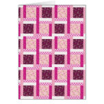 Pretty Pink Purple Patchwork Quilt Design Gifts Card