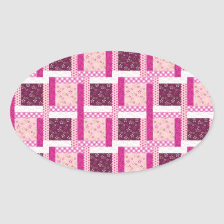 Pretty Pink Purple Patchwork Quilt Design Gifts Oval Sticker