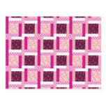 Pretty Pink Purple Patchwork Quilt Design Gifts Post Cards