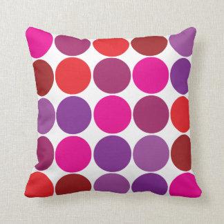 Pretty Pink Purple Red Polka Dots Circles Pattern Throw Pillows
