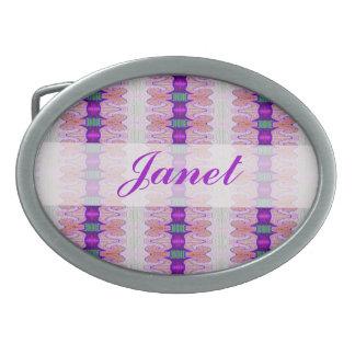 pretty pink purple ribbon pattern belt buckle