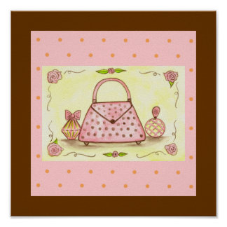 Pretty Pink Purse Perfume Bottle Rose Poster
