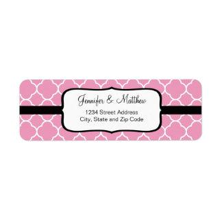 Pretty Pink Quatrefoil Pattern Return Address Label