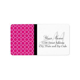 Pretty Pink Quatrefoil Pattern Labels