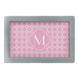 Pretty Pink Quatrefoil Pattern with Monogram Belt Buckles