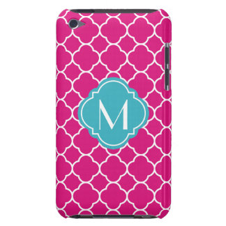 Pretty Pink Quatrefoil Pattern with Monogram iPod Touch Covers