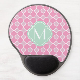 Pretty Pink Quatrefoil Pattern with Monogram Gel Mouse Pad