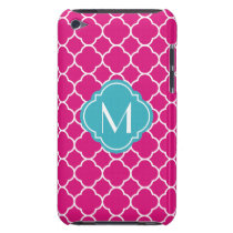 Pretty Pink Quatrefoil Pattern with Monogram iPod Touch Cover