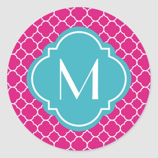 Pretty Pink Quatrefoil Pattern with Monogram Stickers