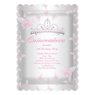 Pretty Pink Quinceanera Party Tiara Butterfly Card