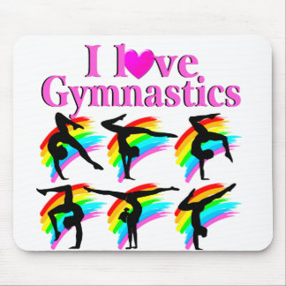 PRETTY PINK RAINBOW GYMNASTICS DESIGN MOUSE PAD