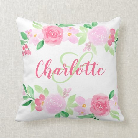 Pretty pink red roses floral watercolor monogram throw pillow