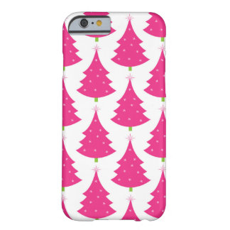 Pretty Pink Retro Christmas Tree Pattern Barely There iPhone 6 Case