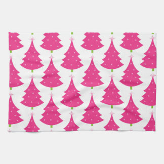 Pretty Pink Retro Christmas Tree Pattern Kitchen Towel